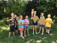 MakeShop Campers with their cardboard creations... Something about cardboard and hot glue made us feel like warriors...